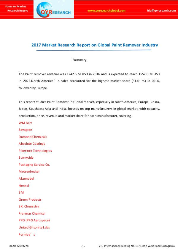 Global Paint Remover Industry Market Report