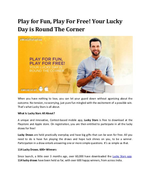 Play for Fun, Play For Free!your Lucky Day is Round The Corner Play for Fun, Play For Free! Your Lucky Day is Rou