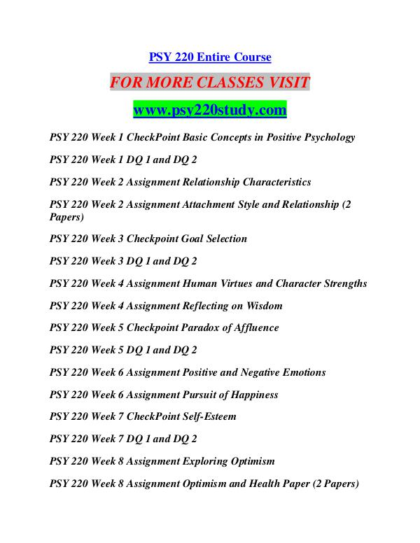 psy 220 wk1 checkpoint basic concepts in positive psychology