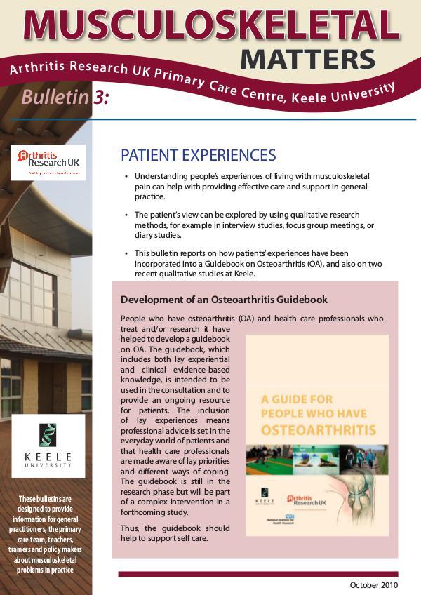 Musculoskeletal Matters 3: Patient Experiences