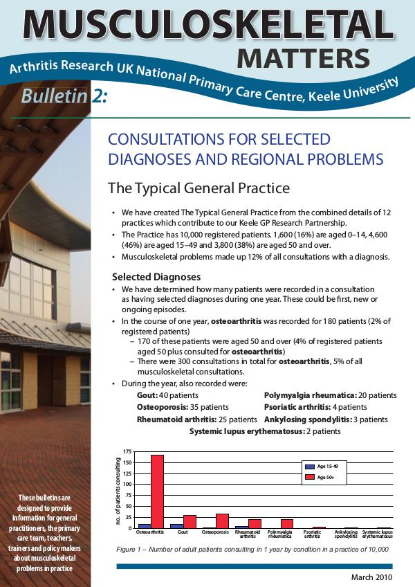 Musculoskeletal Matters 2: Consultations for Selected Diagnoses & Regional