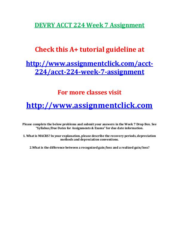 devry acct 212 entire course DEVRY ACCT 224 Week 7 Assignment