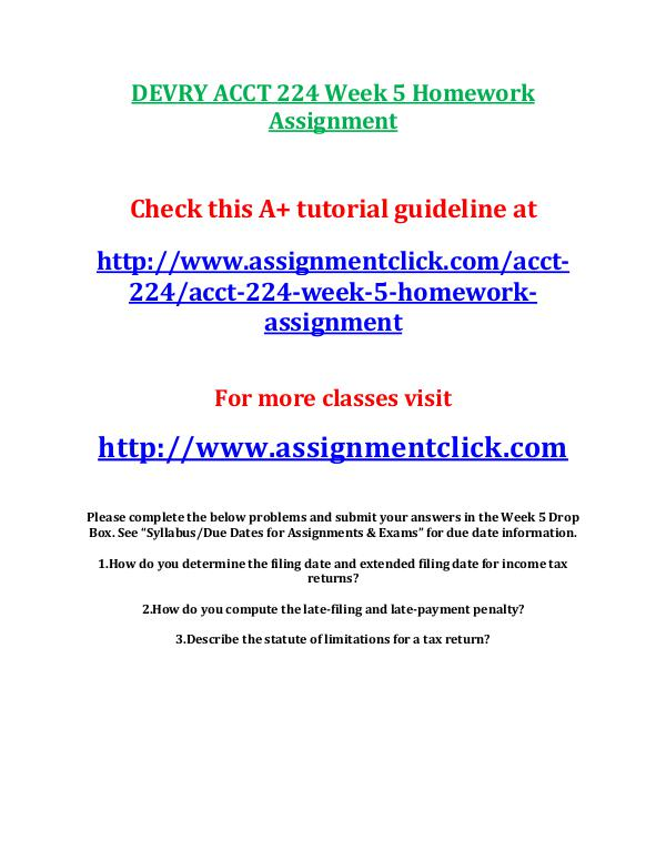 devry acct 212 entire course DEVRY ACCT 224 Week 5 Homework Assignment