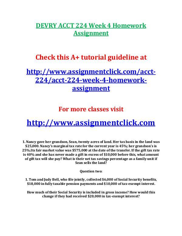 devry acct 212 entire course DEVRY ACCT 224 Week 4 Homework Assignment