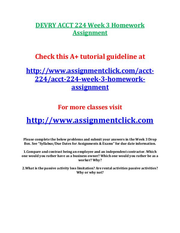 devry acct 212 entire course DEVRY ACCT 224 Week 3 Homework Assignment