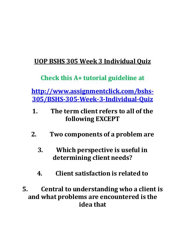 uop bshs 305 entire course UOP BSHS 305 Week 3 Individual Quiz
