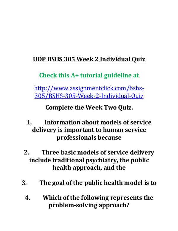 uop bshs 305 entire course UOP BSHS 305 Week 2 Individual Quiz