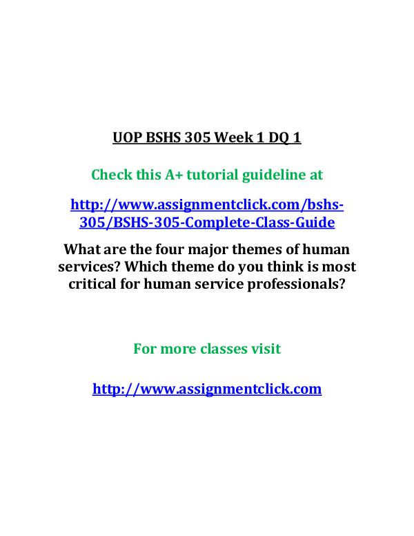 uop bshs 305 entire course UOP BSHS 305 Week 1 DQ 1