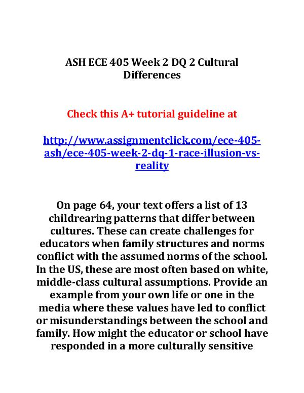 ASH ECE 405 Week 2 DQ 2 Cultural Differences