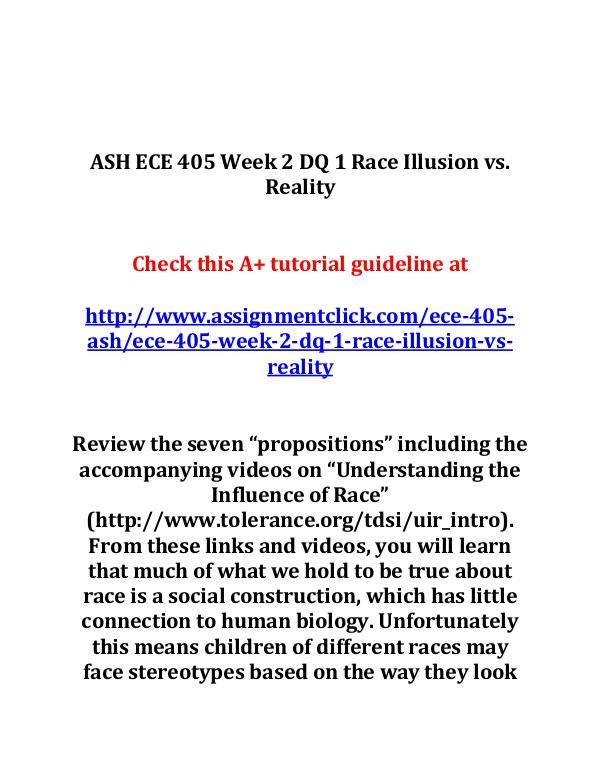 ASH ECE 405 Week 2 DQ 1 Race Illusion vs