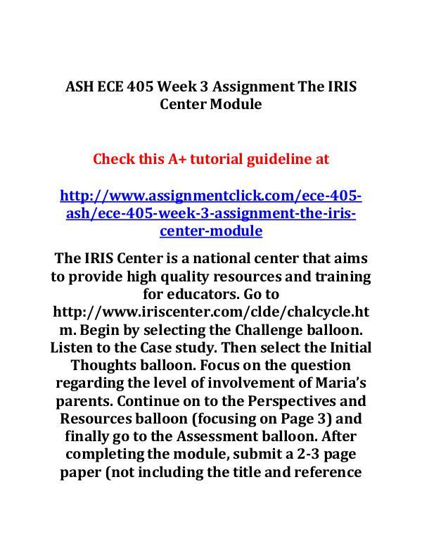 ash ece 405 entire course ASH ECE 405 Week 3 Assignment The IRIS Center Modu