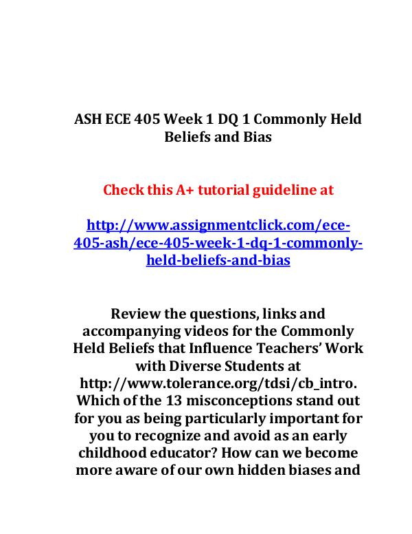 ash ece 405 entire course ASH ECE 405 Week 1 DQ 1 Commonly Held Beliefs and
