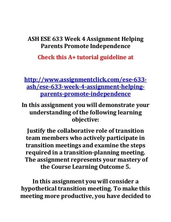 ASH ESE 633 Week 4 Assignment Helping Parents Prom