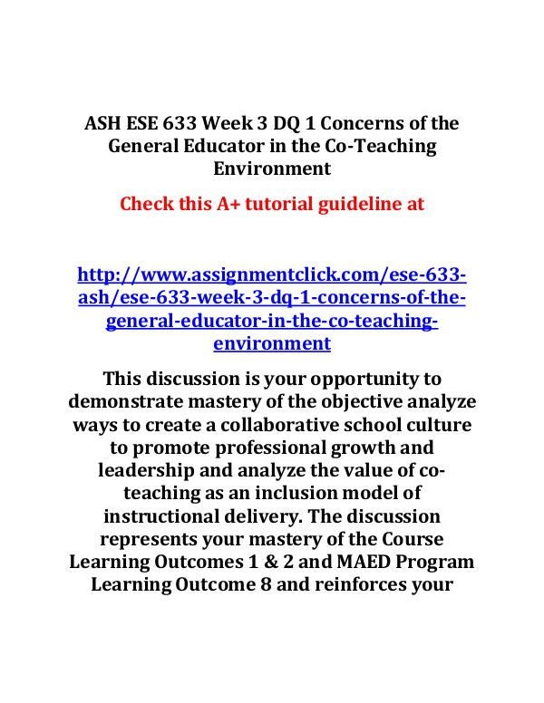 ASH ESE 633 Week 3 DQ 1 Concerns of the General Ed