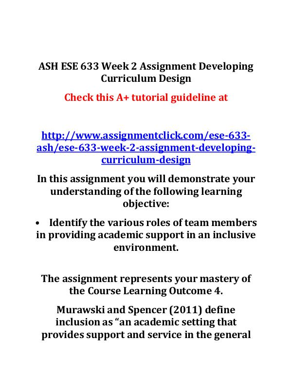 ASH ESE 633 Week 2 Assignment Developing Curriculu