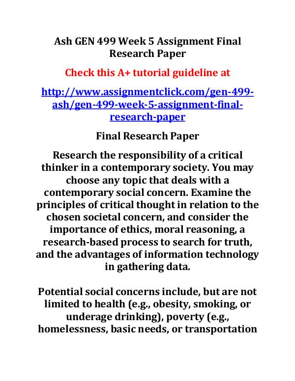 Ash GEN 499 Week 4 DQ 2 Final Research Paper Progr