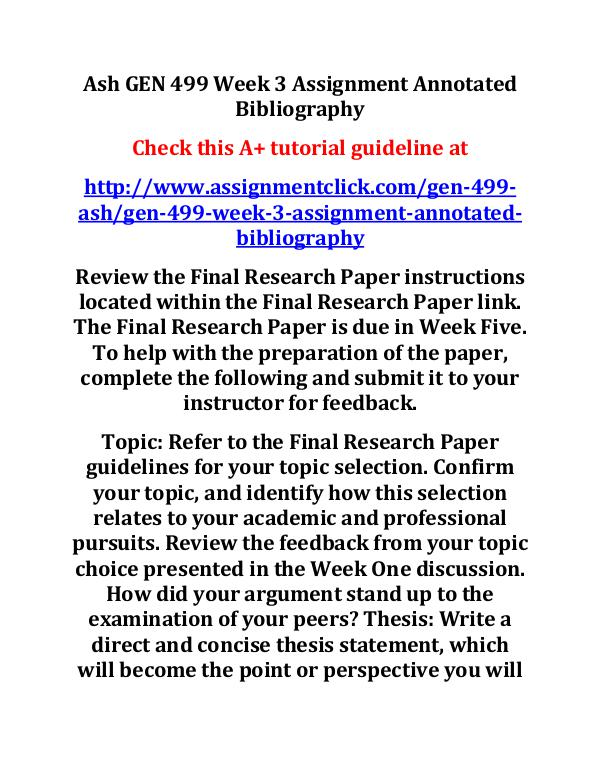 Ash GEN 499 Week 3 Assignment Annotated Bibliograp