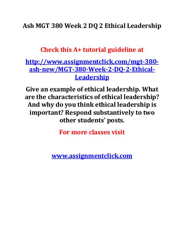 Ash MGT 380 Week 2 DQ 2 Ethical Leadership