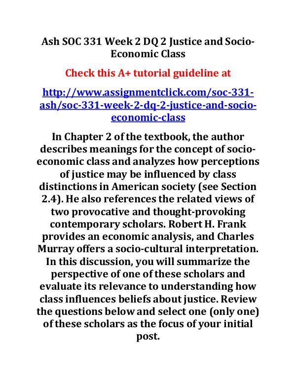 Ash SOC 331 Week 2 DQ 2 Justice and Socio