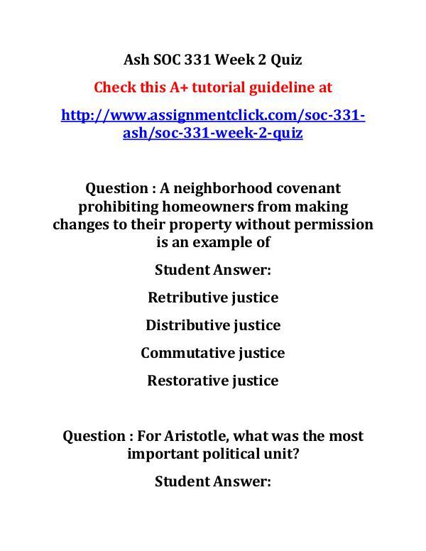 Ash SOC 331 Week 2 Quiz