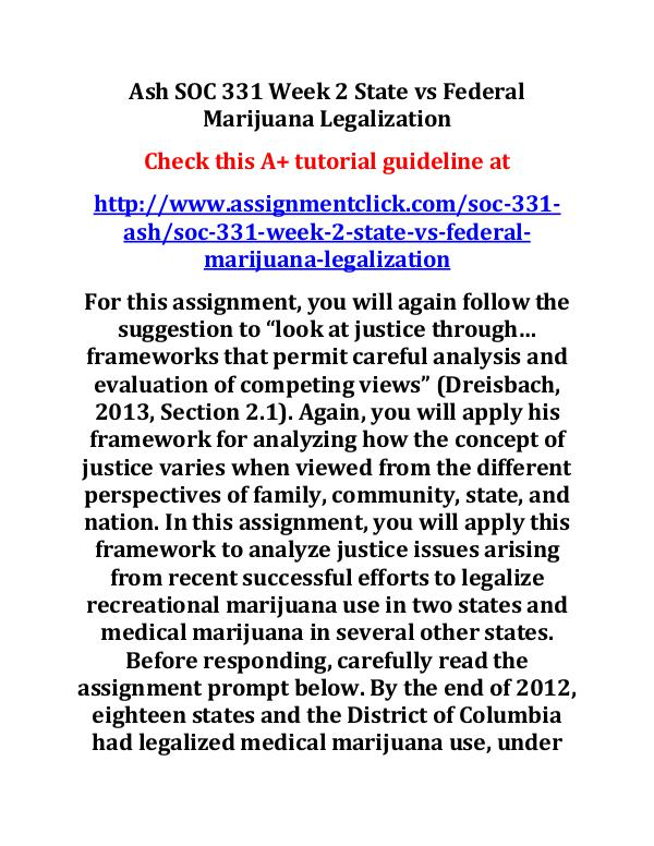 Ash SOC 331 Week 2 State vs Federal Marijuana Lega