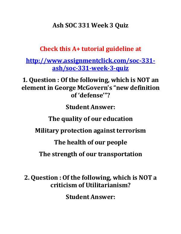 Ash SOC 331 Week 3 Quiz