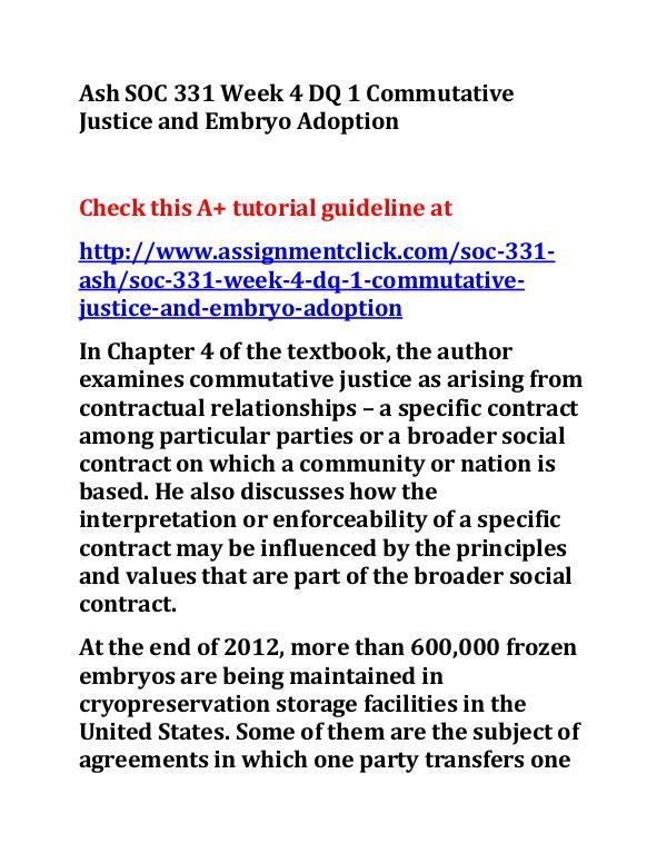 Ash SOC 331 Week 4 DQ 1 Commutative Justice and Em