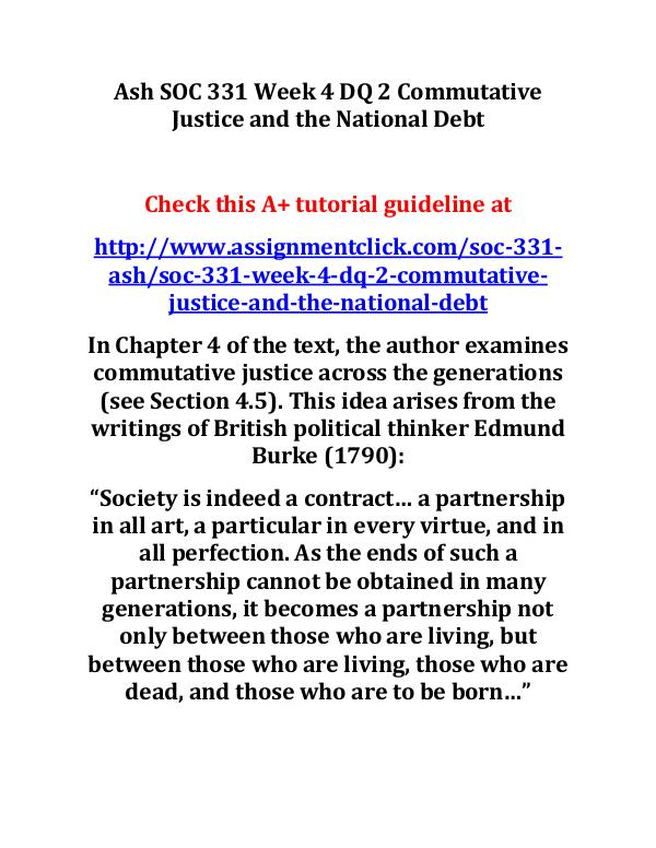Ash SOC 331 Week 4 DQ 2 Commutative Justice and th
