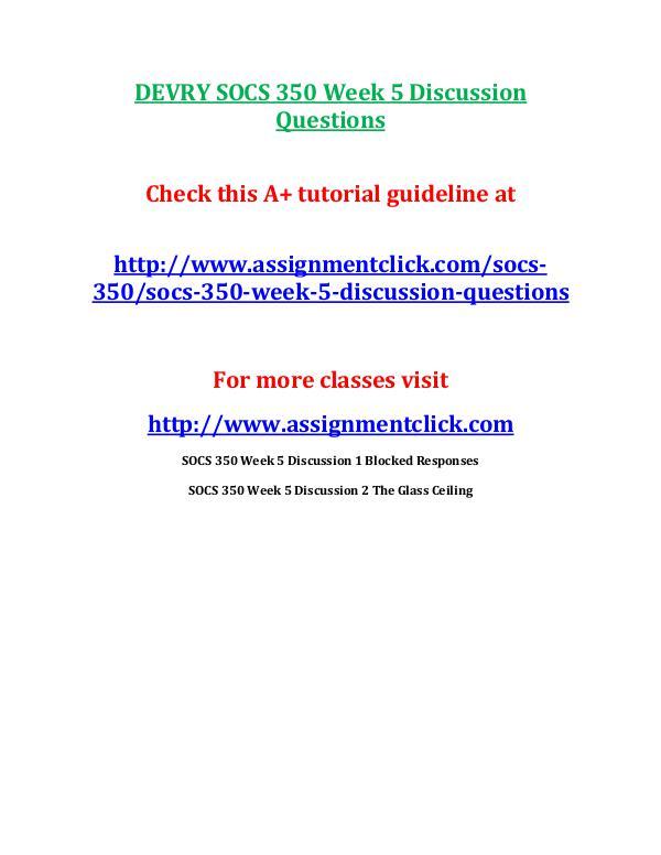 DEVRY SOCS 350 Week 5 Discussion Questions