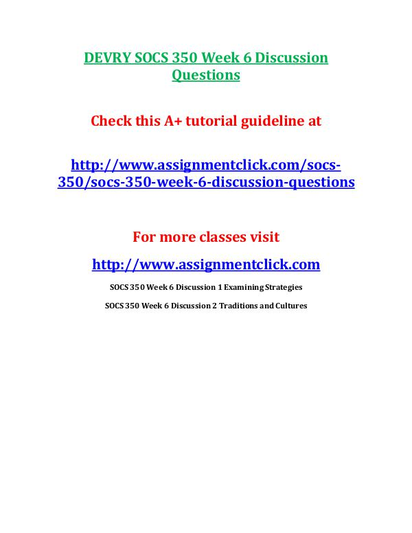 DEVRY SOCS 350 Week 6 Discussion Questions