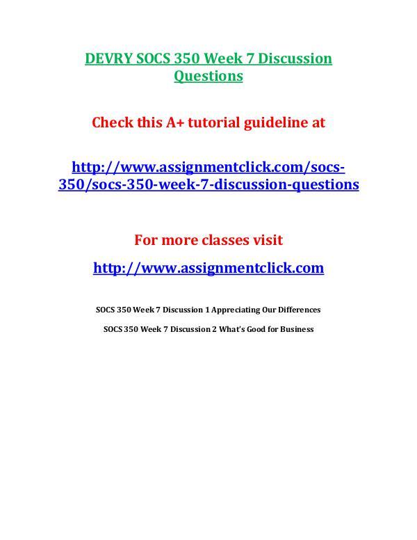 DEVRY SOCS 350 Week 7 Discussion Questions