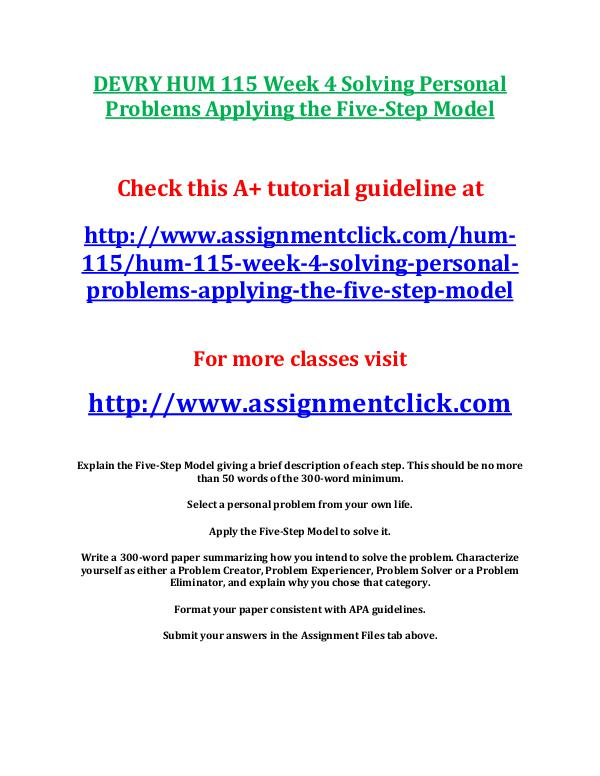 DEVRY HUM 115 Entire Course DEVRY HUM 115 Week 4 Solving Personal Problems App