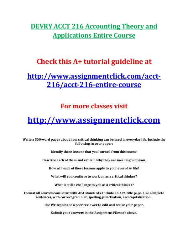 DEVRY ACCT 216 Accounting Theory and Applications