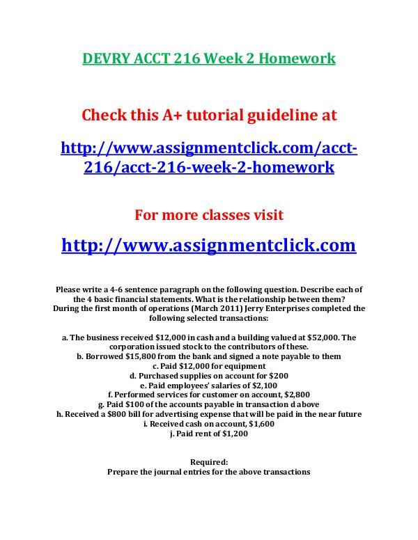 DEVRY ACCT 216 Week 2 Homework