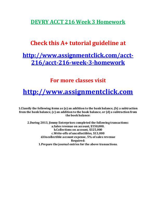 DEVRY ACCT 216 Week 3 Homework