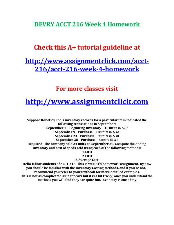 DEVRY ACCT 216 Week 4 Homework