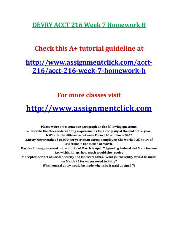 DEVRY ACCT 216 Entire Course DEVRY ACCT 216 Week 7 Homework B
