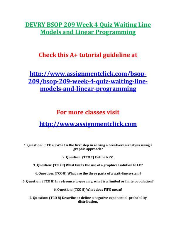 DEVRY BSOP 209 Week 4 Quiz Waiting Line Models and