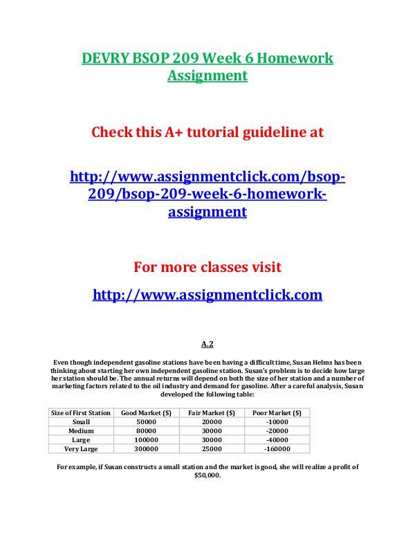 DEVRY BSOP 209 Entire CourseDEVRY BSOP 209 Entire Course DEVRY BSOP 209 Week 6 Homework Assignment