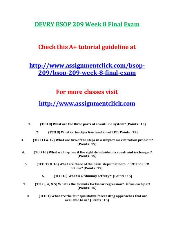 DEVRY BSOP 209 Week 8 Final Exam