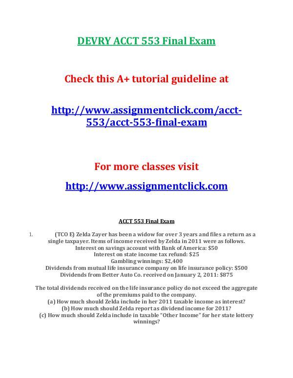 DEVRY ACCT 553 Final Exam