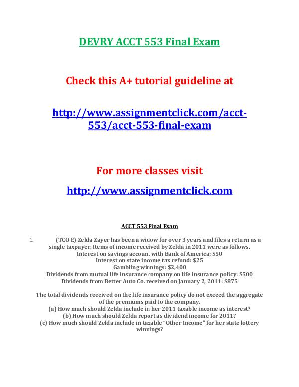 DEVRY ACCT 553 Entire Course DEVRY ACCT 553 Final Exam