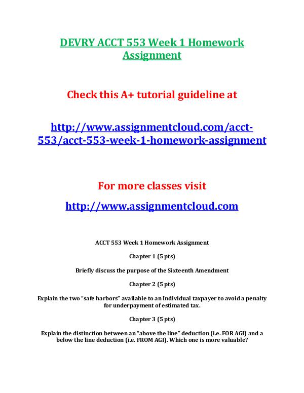 DEVRY ACCT 553 Entire Course DEVRY ACCT 553 Week 1 Homework Assignment