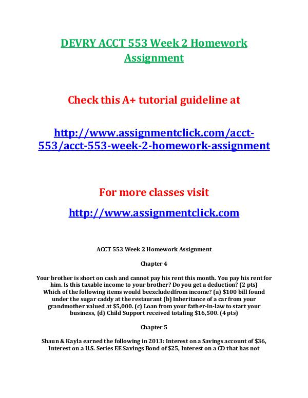 DEVRY ACCT 553 Entire Course DEVRY ACCT 553 Week 2 Homework Assignment