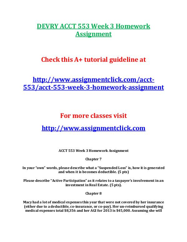 DEVRY ACCT 553 Entire Course DEVRY ACCT 553 Week 3 Homework Assignment