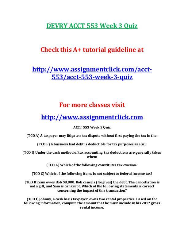 DEVRY ACCT 553 Week 3 Quiz