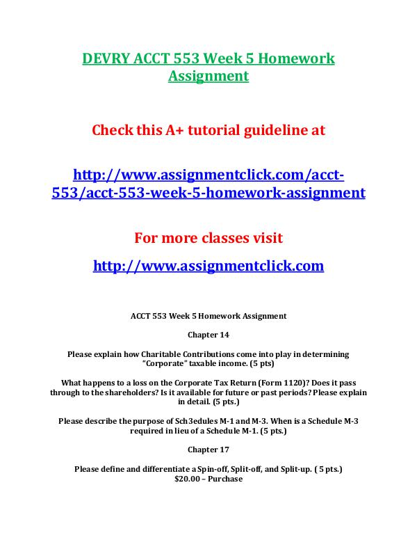 DEVRY ACCT 553 Entire Course DEVRY ACCT 553 Week 5 Homework Assignment