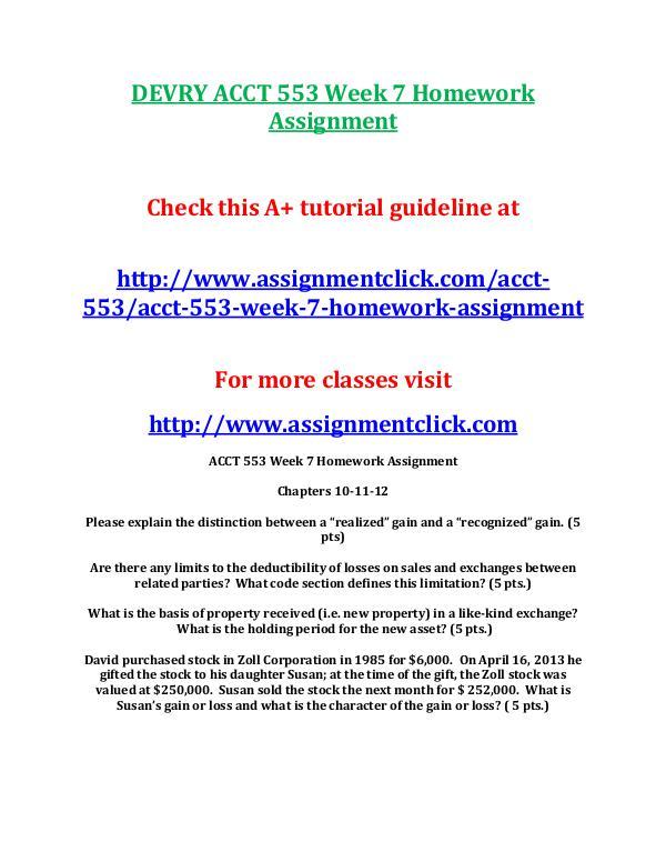 DEVRY ACCT 553 Entire Course DEVRY ACCT 553 Week 7 Homework Assignment