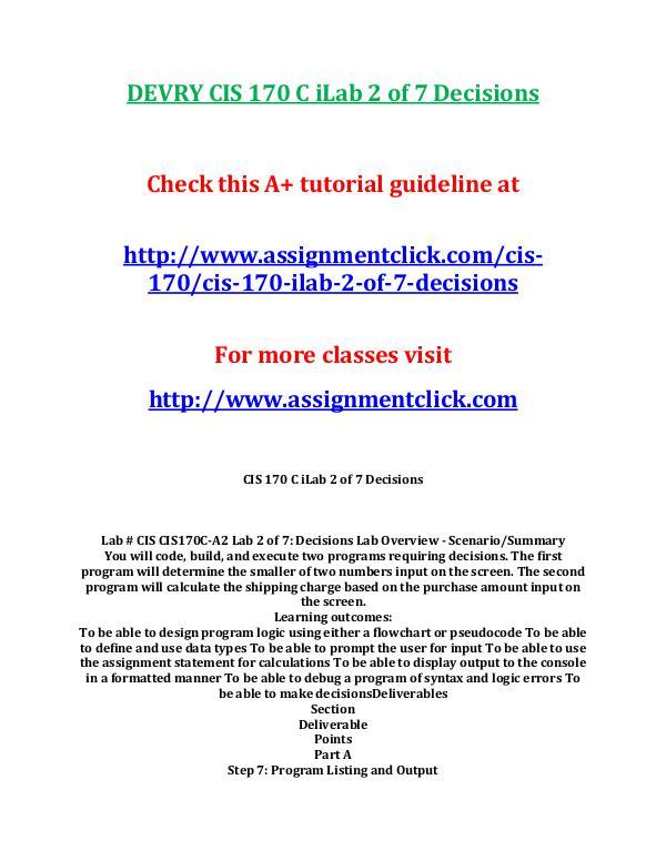 DEVRY CIS 170 Entire CourseDEVRY CIS 170 Entire Course DEVRY CIS 170 Entire Course