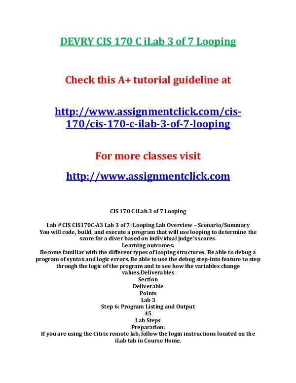 DEVRY CIS 170 Entire CourseDEVRY CIS 170 Entire Course DEVRY CIS 170 C iLab 3 of 7 Looping
